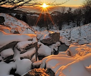 snow, winter, and sunset image