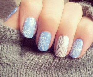 nails, snow, and snowflakes image