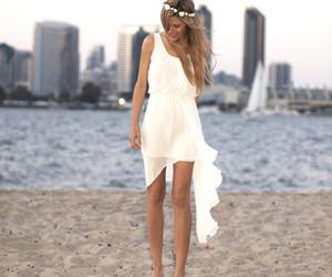 dress, beach, and white image