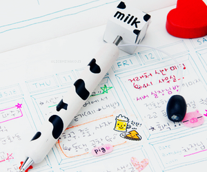 kawaii, milk, and pen image