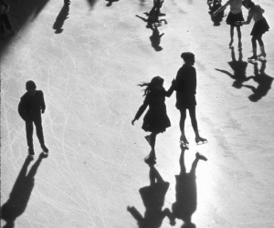 black and white, ice skating, and shadow image