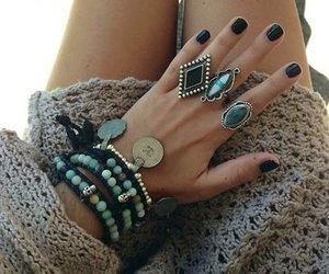 black, bracelets, and fashion image