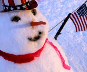 flag, snowman, and winter image