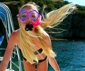 beach, blonde, and diving image