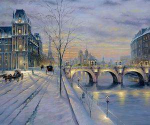 paris, snow, and romantic image