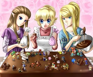 zelda, princess peach, and mario image