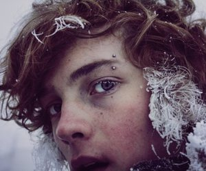 beauty, eyes, and snow image