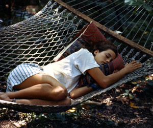 girl, sleep, and hammock image