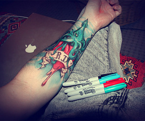 tattoo, Sharpie, and arm image