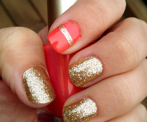 gold, nails, and red image