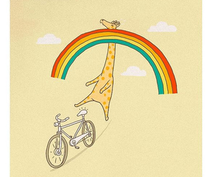 rainbow, giraffe, and bicycle image