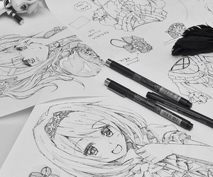 drawing, black and white, and manga image