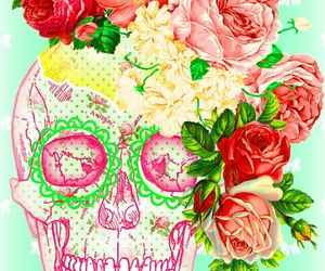 floral, neon, and skull image