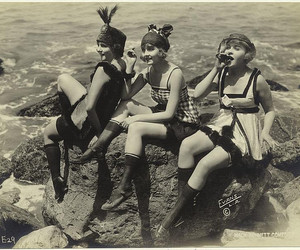 1920s, flappers, and beach image