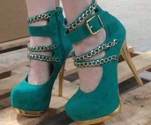 green, heels, and shoes image