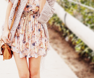cute dress, fashion, and floral dress image