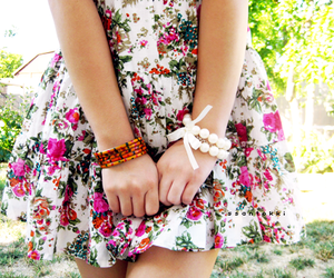floral dress, pink, and shy image