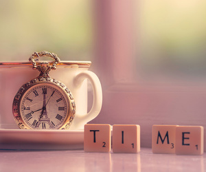 time, clock, and tea image