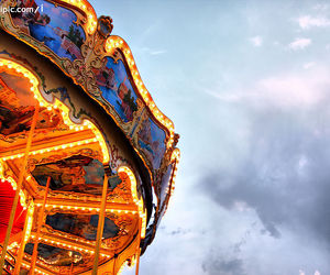 blue, carousel, and light image