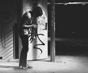 black and white, street, and guy image