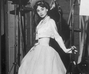 audrey hepburn, black and white, and dress image
