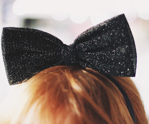 hair, black, and bow image