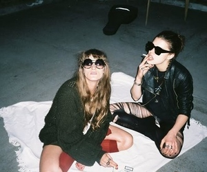 girl, friends, and cigarette image