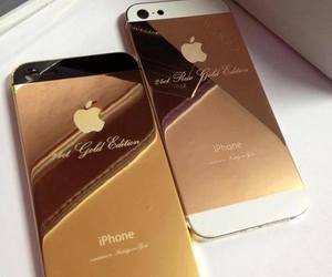 iphone, gold, and apple image