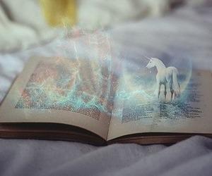 book, unicorn, and magic image