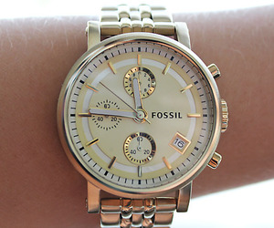 watch, fossil, and gold image