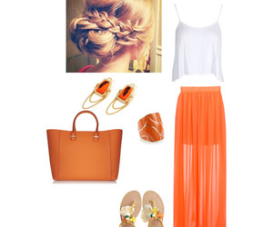 orange, outfit, and Polyvore image
