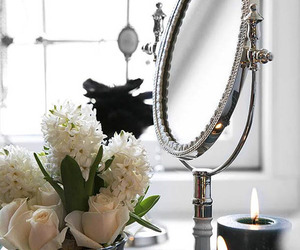 mirror, flowers, and candle image