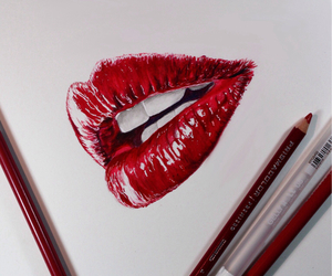 drawing, illusion, and lips image