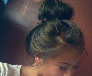 hair, brunette, and bun image