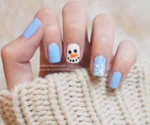 nail art, nails, and snowman image