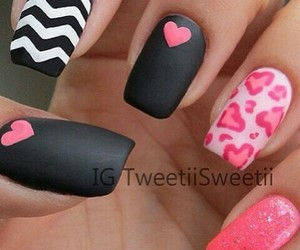black, nails, and heart image