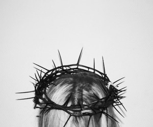 black and white, crown, and jesus image