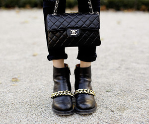 chanel, boots, and black image