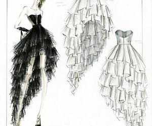 black, dress, and drawing image