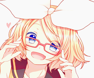 anime girl, kagamine rin, and glasses image