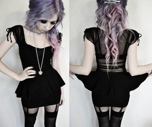 hair, black, and pastel goth image