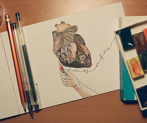 heart, drawing, and fire image