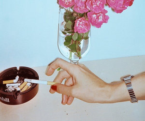 flowers, cigarette, and pink image