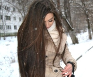 snow, long hair, and brunette image