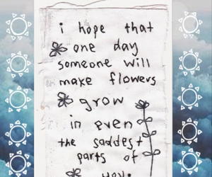 flowers, quote, and sad image