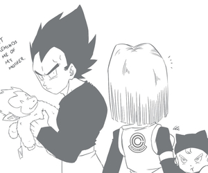 bulma, monkey, and trunks image
