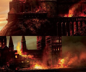 fire, harry potter, and hogwarts image