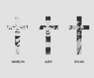 black and white, marilyn, and cross image