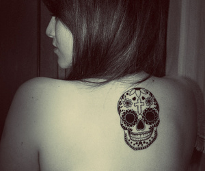 back tattoo, day of the dead, and skull candy image