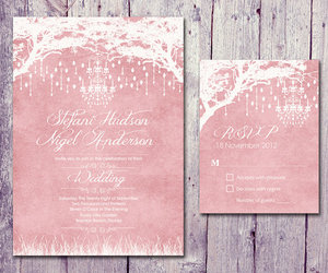 blush, card, and chandelier image